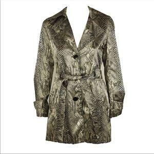 VIA SPIGA Stylish Snakeskin Belted Trench Coat